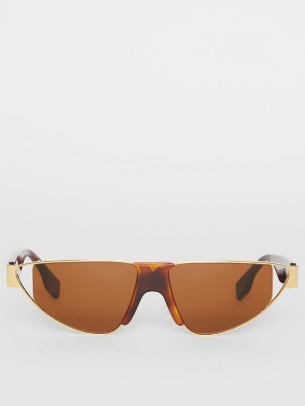 Gold-plated Triangular Frame Sunglasses in Tortoiseshell