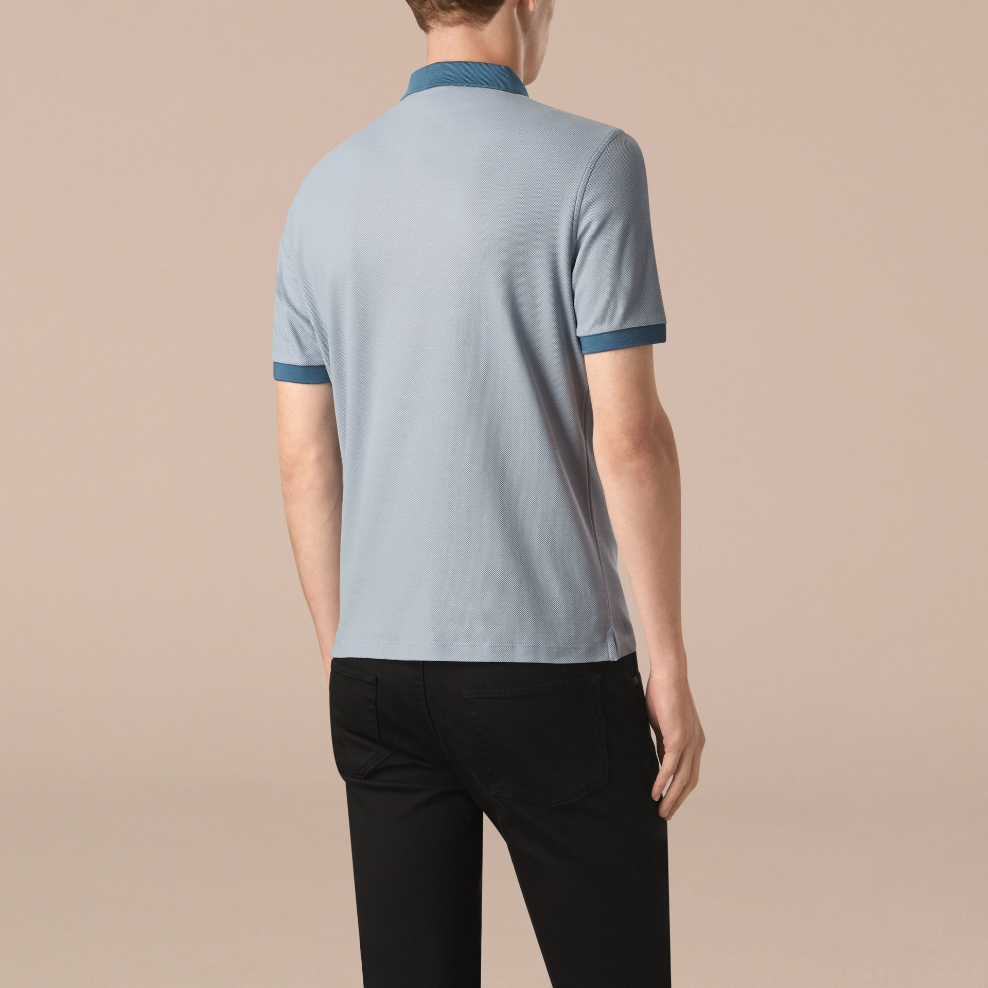 Pale sky blue/lupen blue Mercerised Cotton Piqué Polo Shirt Pale Sky Blue/lupen Blue - gallery image 2