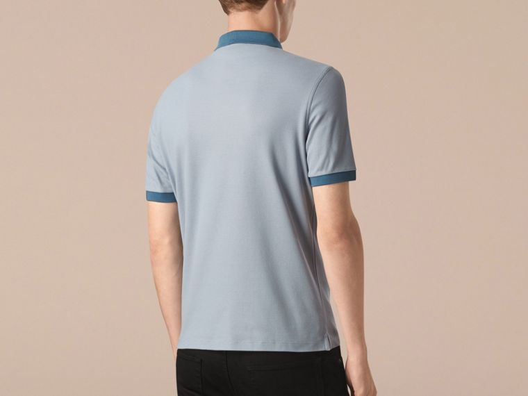 Pale sky blue/lupen blue Mercerised Cotton Piqué Polo Shirt Pale Sky Blue/lupen Blue - cell image 1