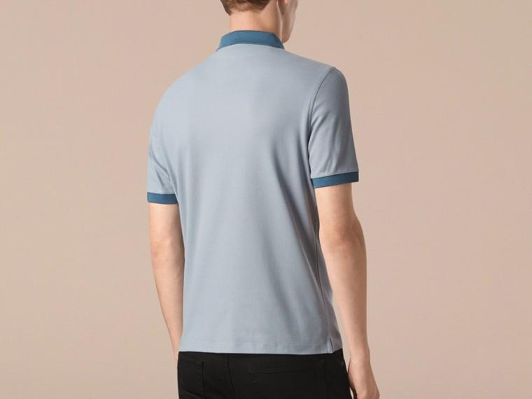 Helles himmelblau/lupinenblau Poloshirt aus mercerisiertem Baumwollpiqué Helles Himmelblau/lupinenblau - cell image 1