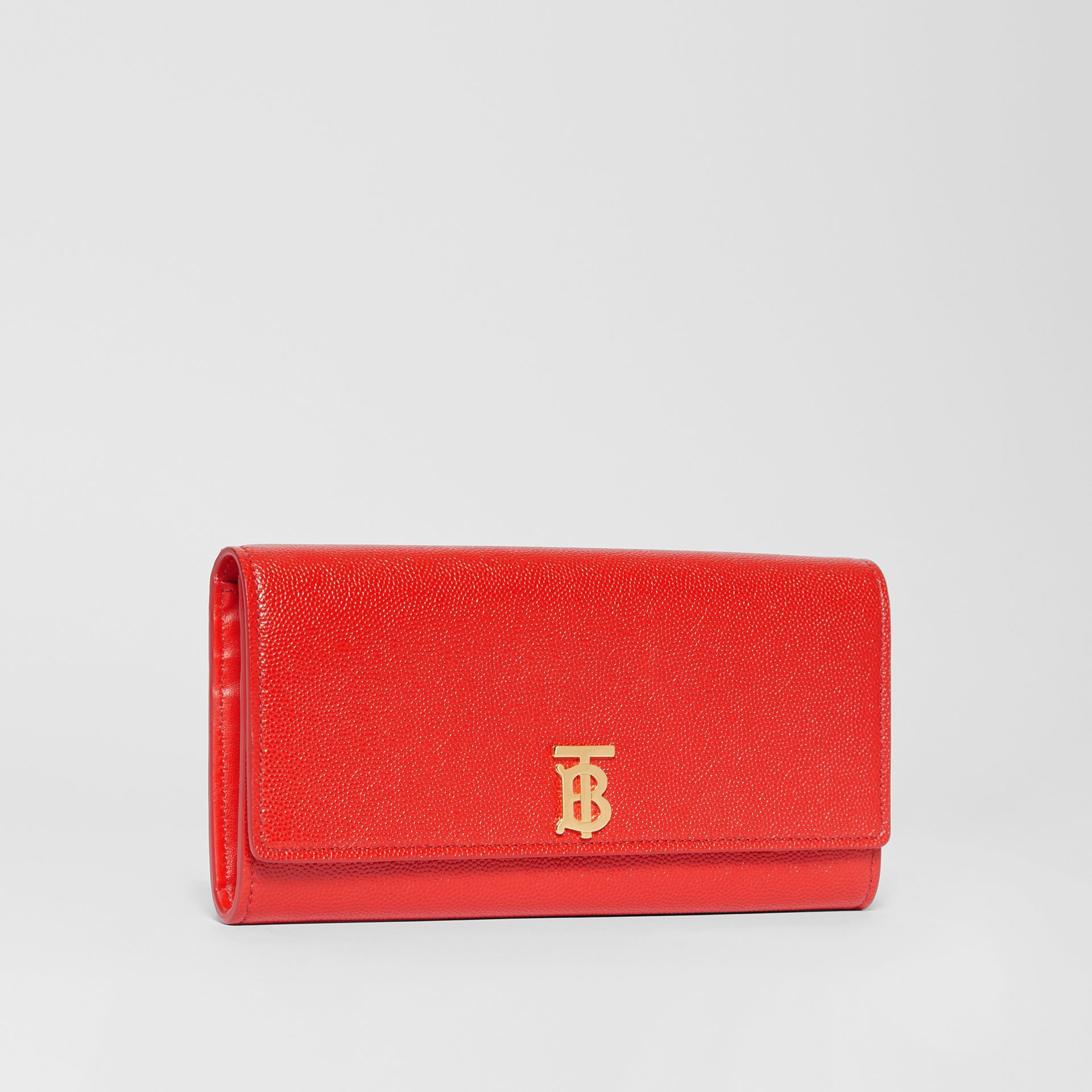 Monogram Motif Grainy Leather Continental Wallet in Bright Red - Women | Burberry - gallery image 4