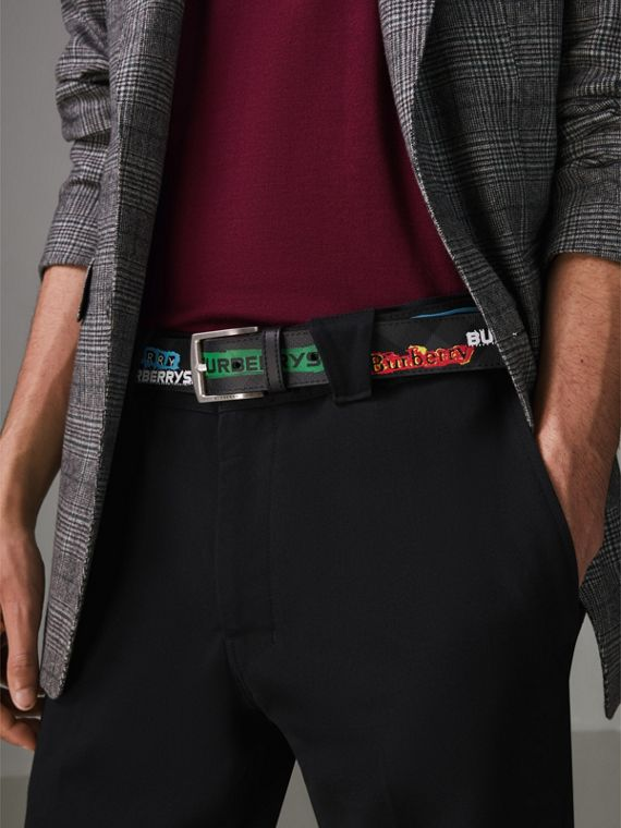 Graffiti Logo Print London Check Belt in Charcoal/black - Men | Burberry - cell image 2