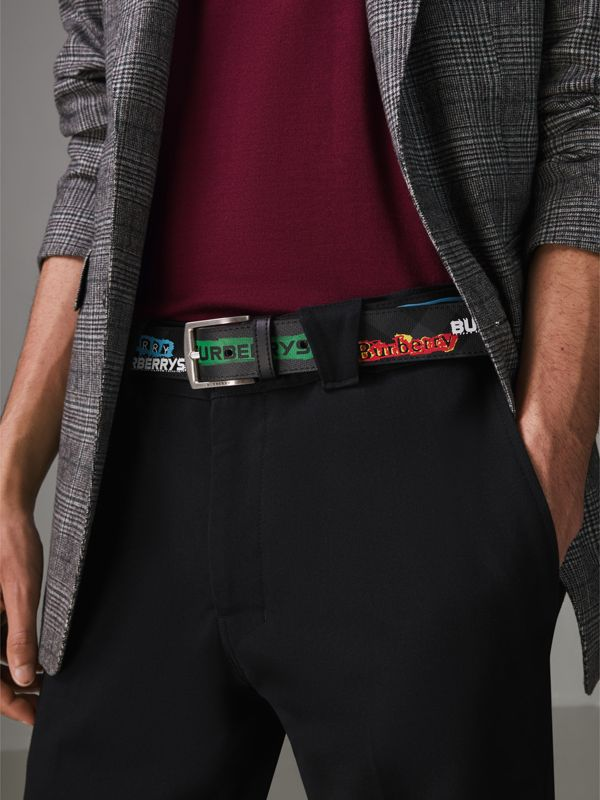 Tag Print London Check Belt in Grey - Men | Burberry - cell image 2