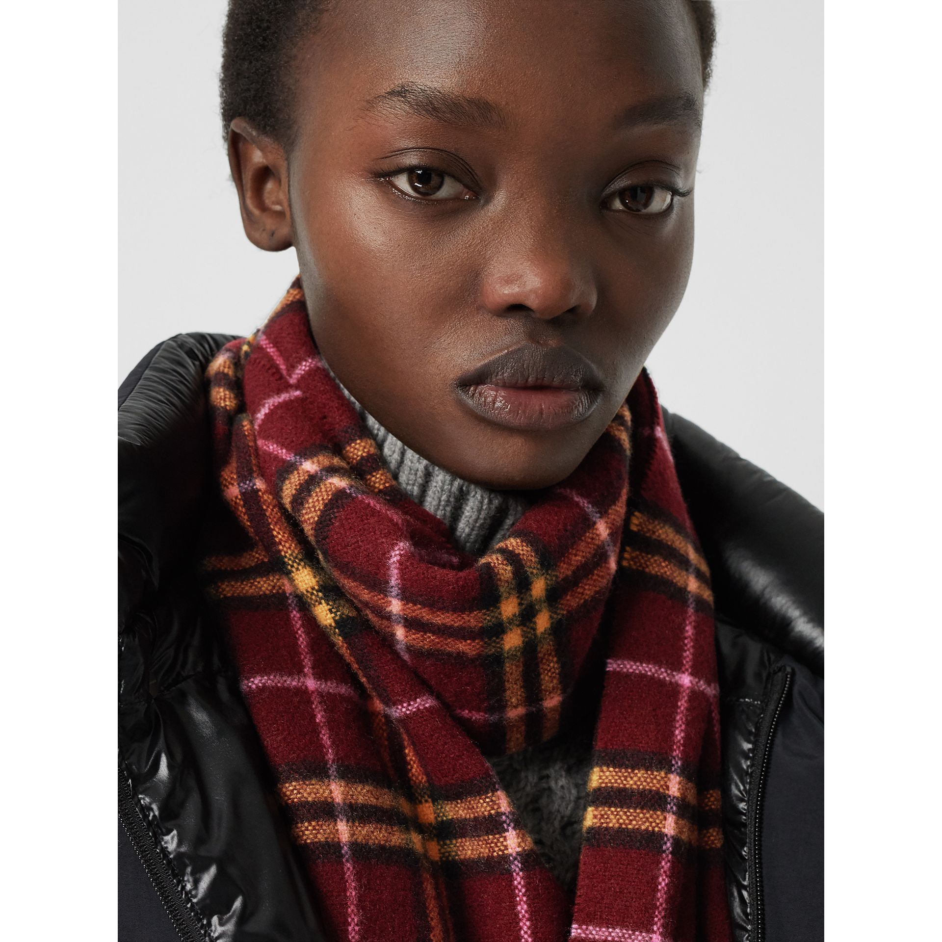 Check Cashmere Scarf in Dark Crimson | Burberry United Kingdom - gallery image 5