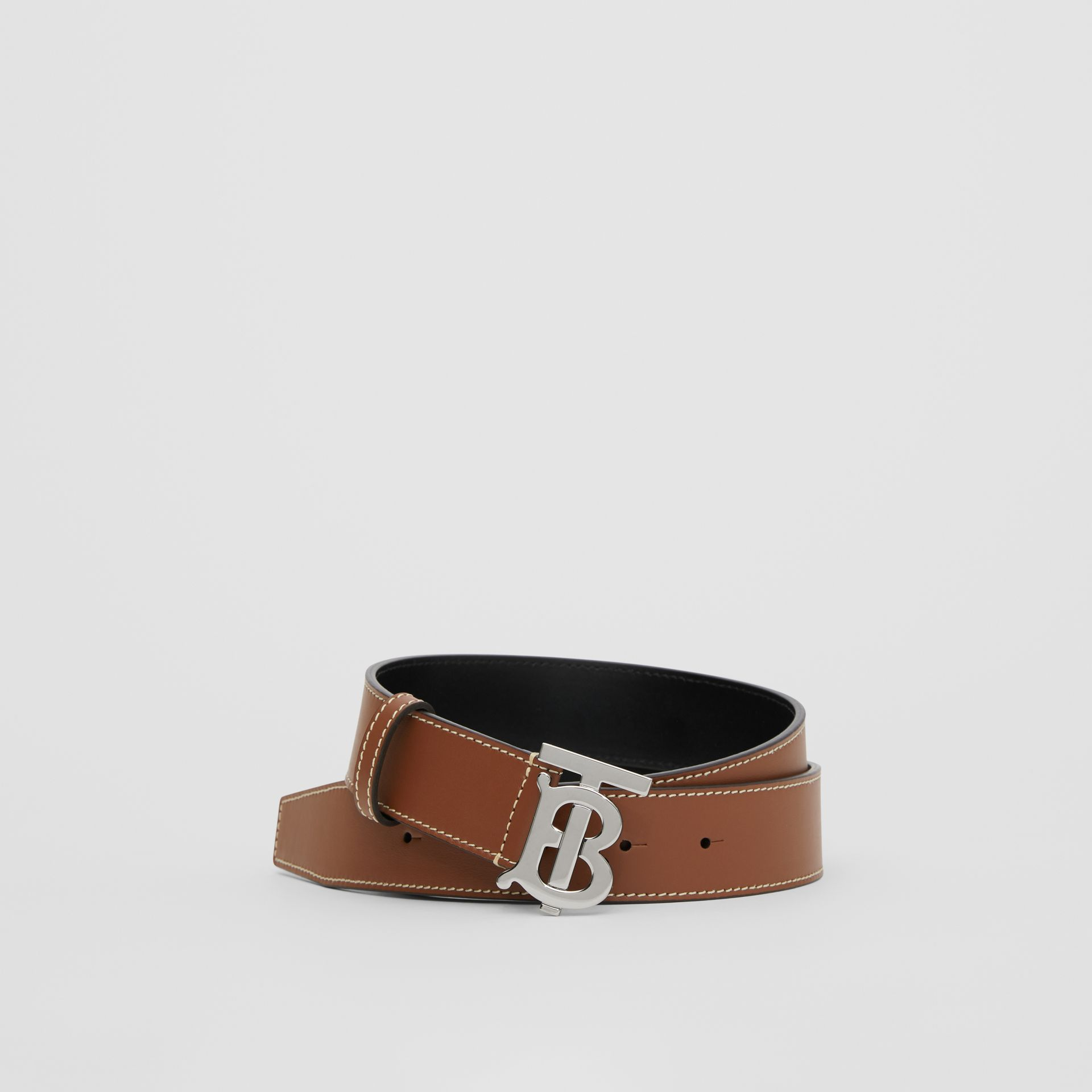 Monogram Motif Topstitched Leather Belt in Tan - Men | Burberry - gallery image 0