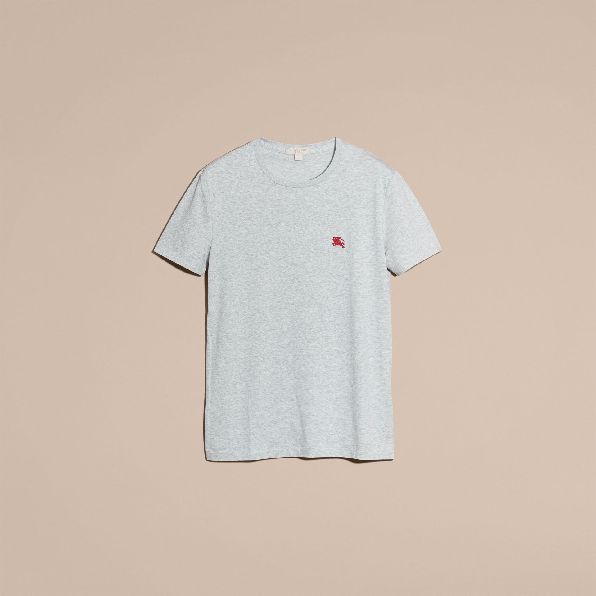 Cotton Jersey T-shirt Pale Grey Melange - gallery image 4