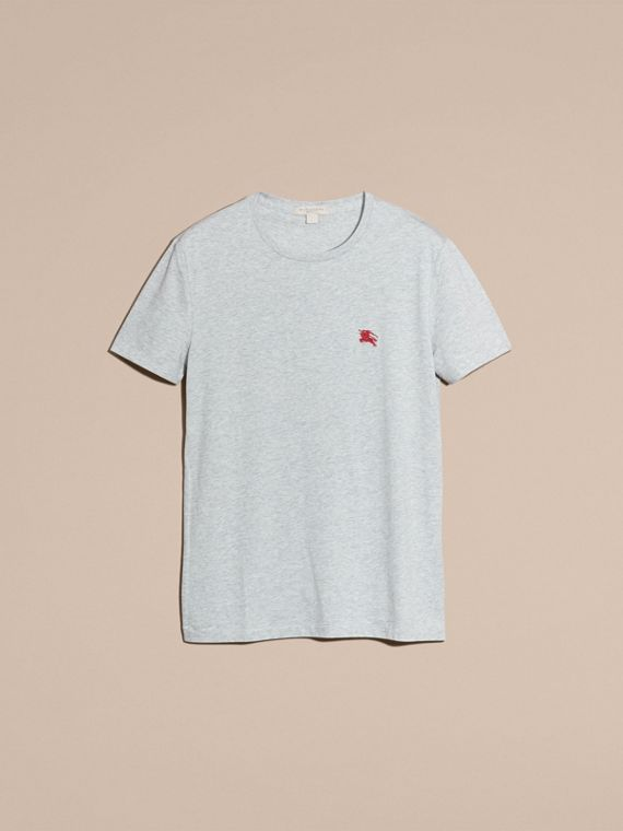 Cotton Jersey T-shirt in Pale Grey Melange - cell image 3