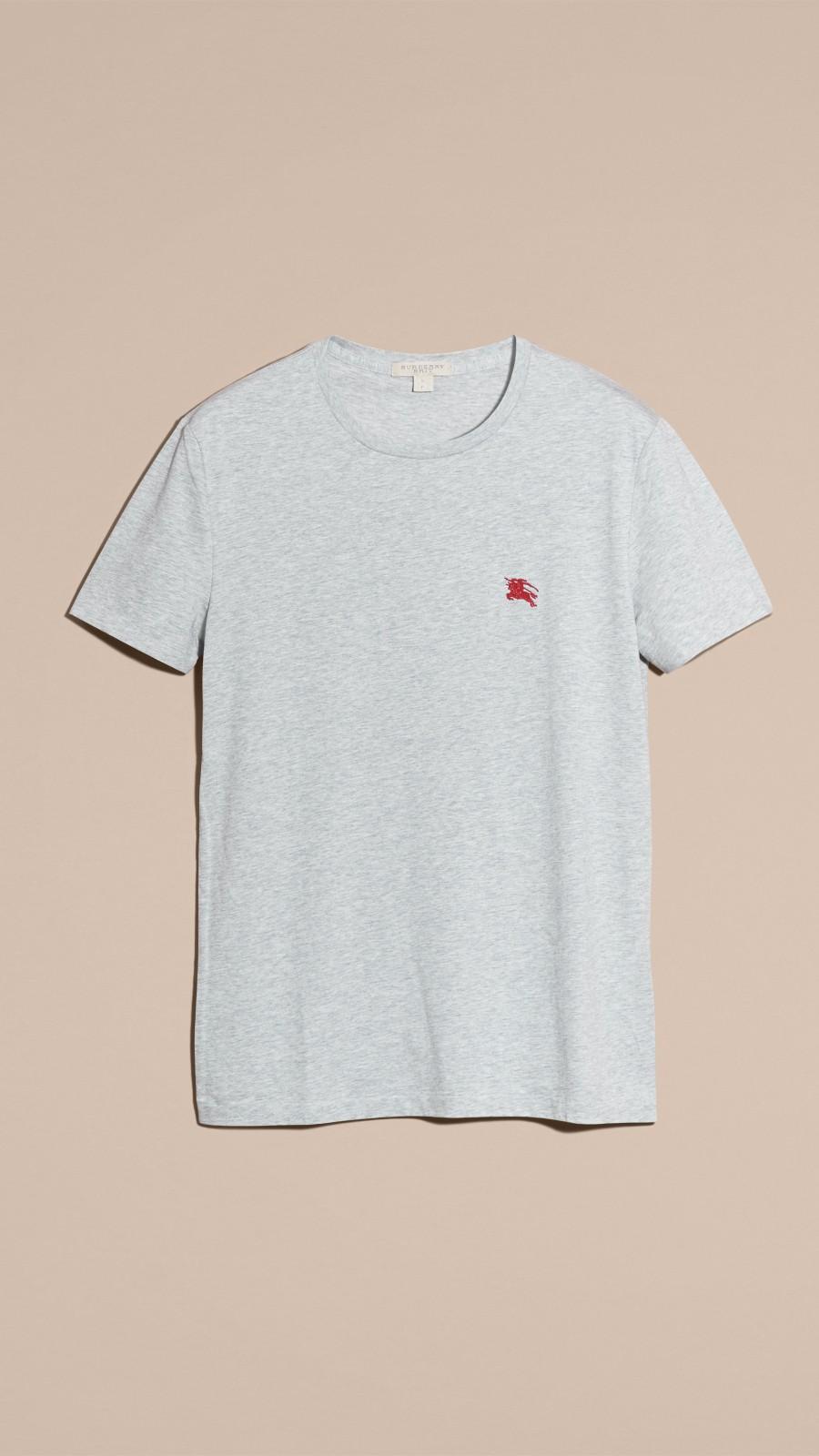 Pale grey melange Liquid-soft Cotton T-Shirt Pale Grey Melange - Image 4