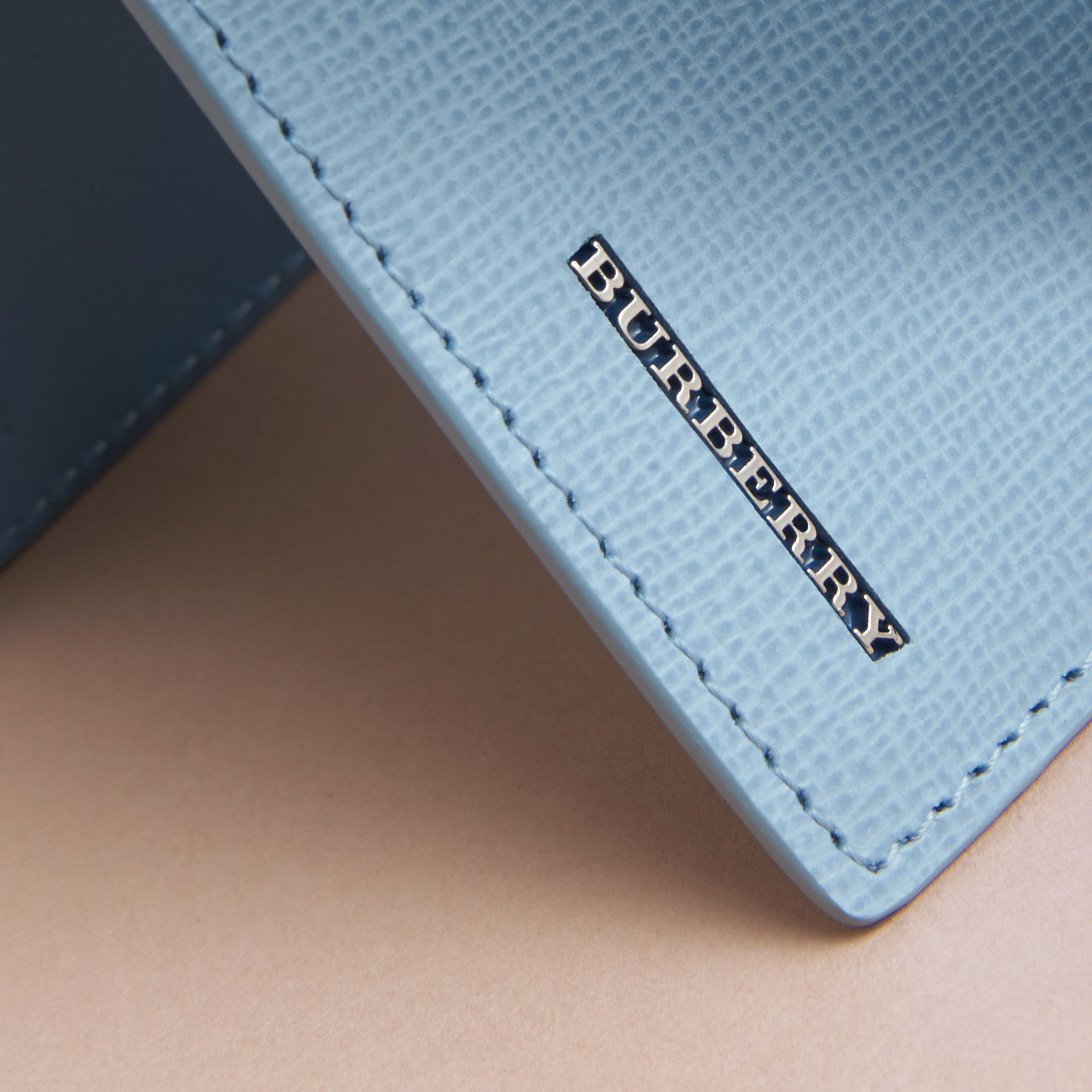 London Leather Bifold Wallet in Powder Blue - gallery image 2