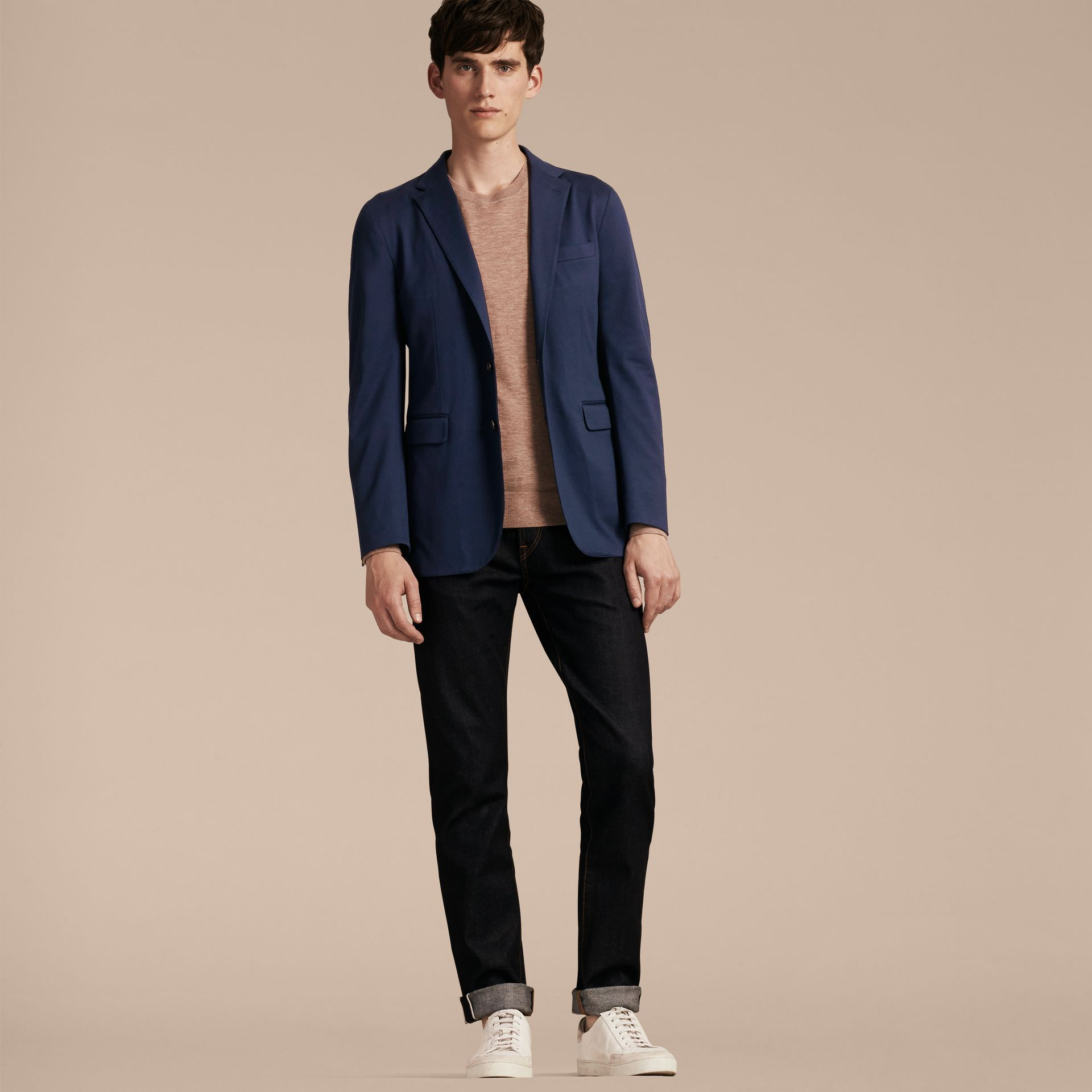 Navy Slim Fit Cotton Tailored Jacket - gallery image 6
