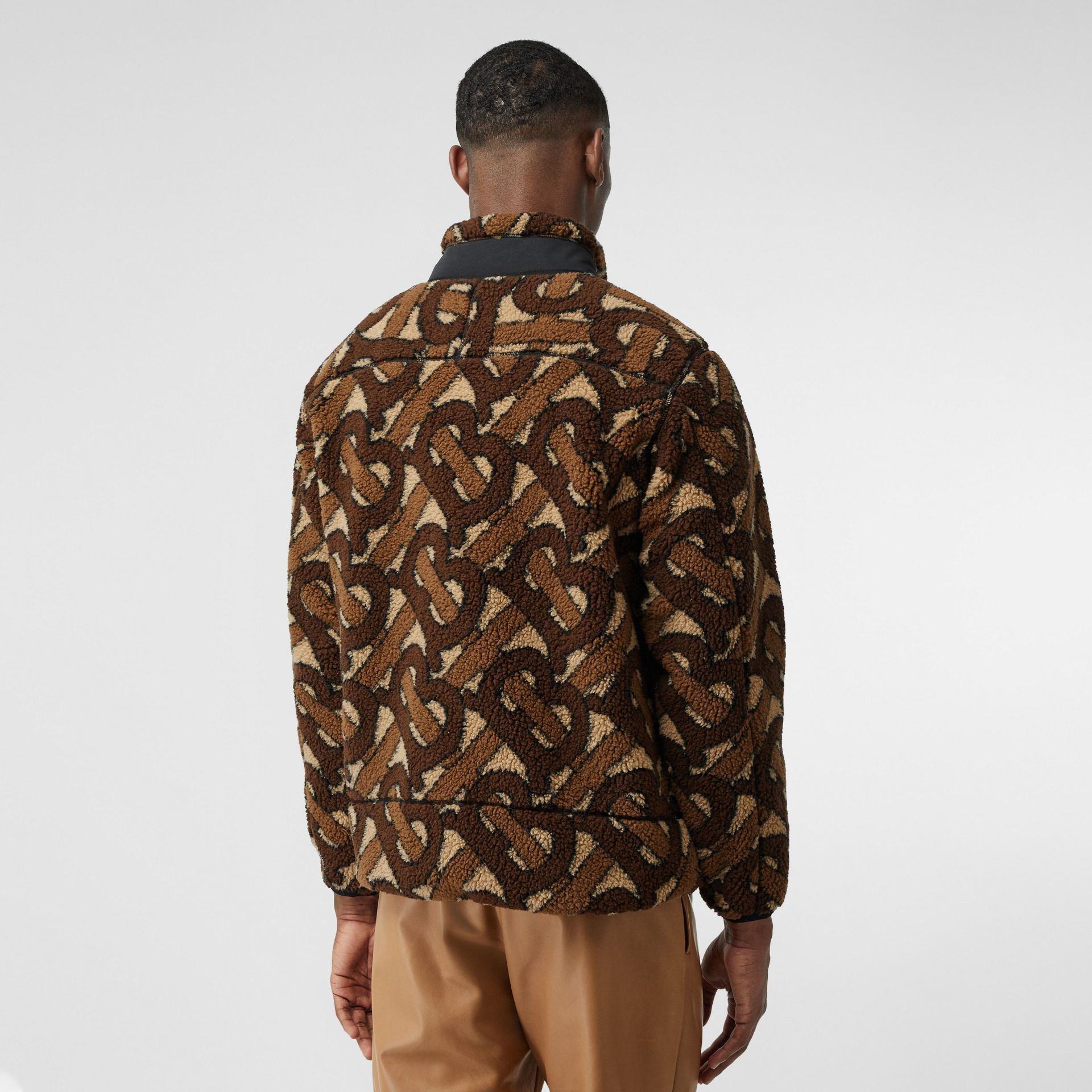 Monogram Fleece Jacquard Jacket in Bridle Brown - Men | Burberry - gallery image 2