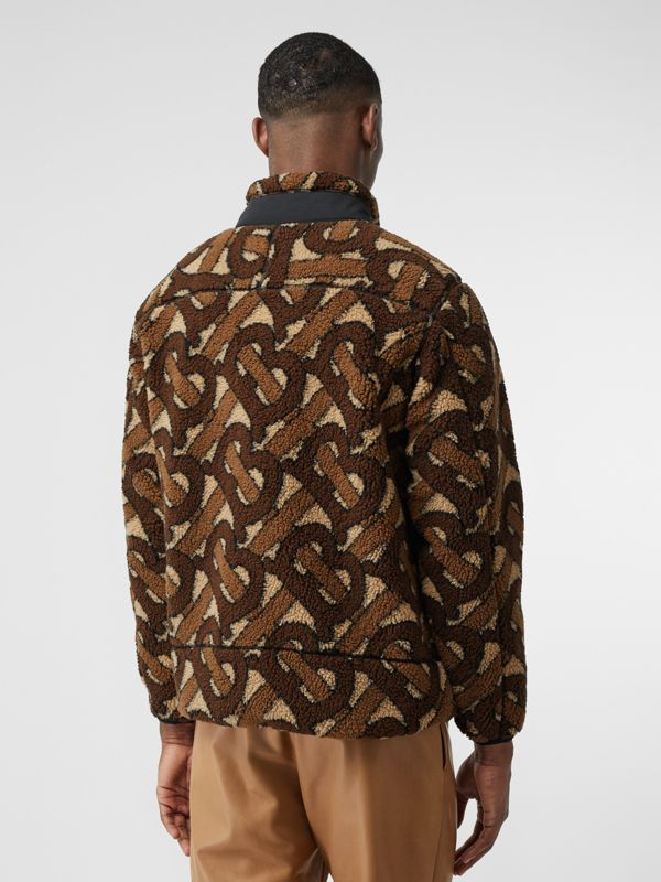 Monogram Fleece Jacquard Jacket in Bridle Brown - Men | Burberry - cell image 2