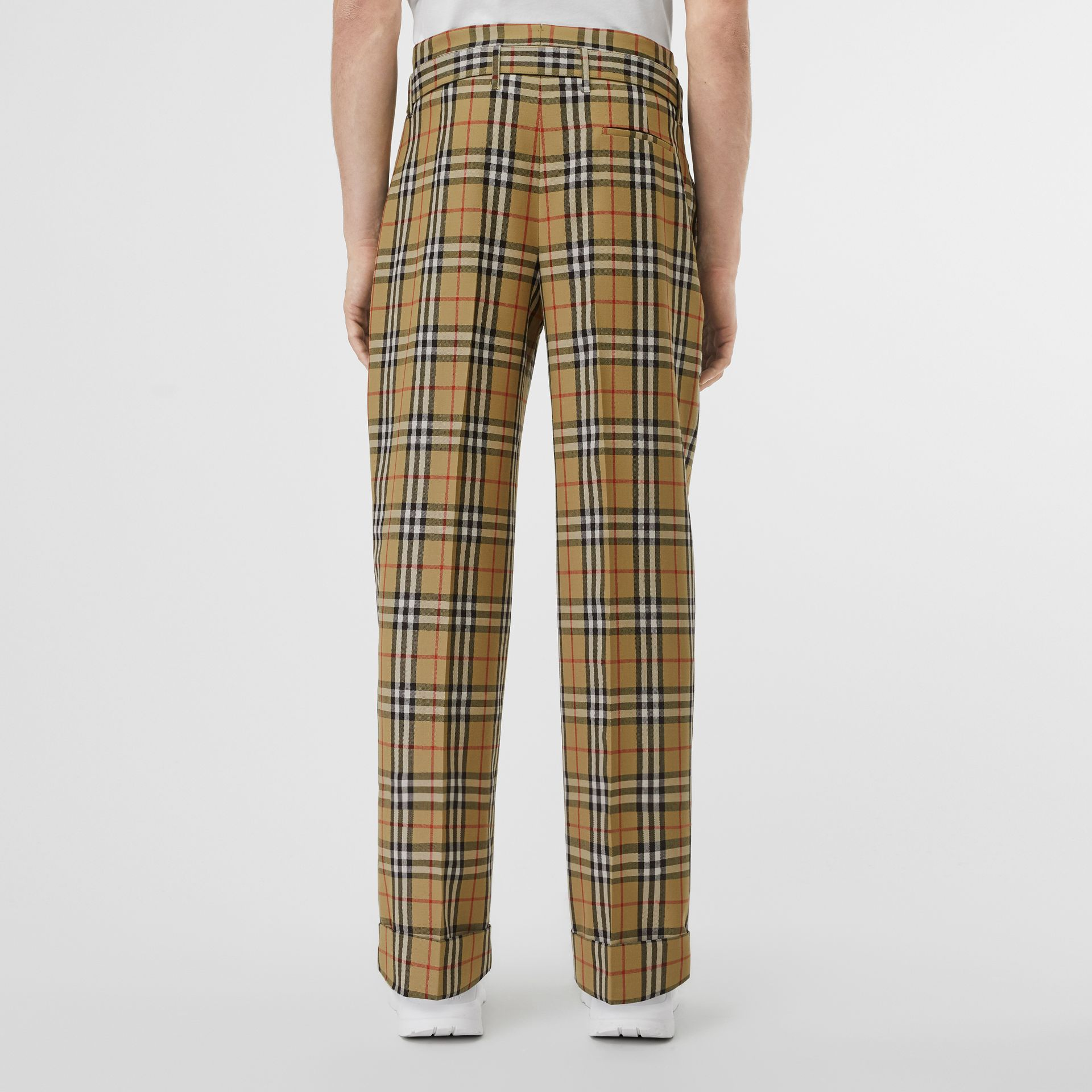 Vintage Check Wool High-waisted Trousers in Antique Yellow - Men | Burberry - gallery image 2