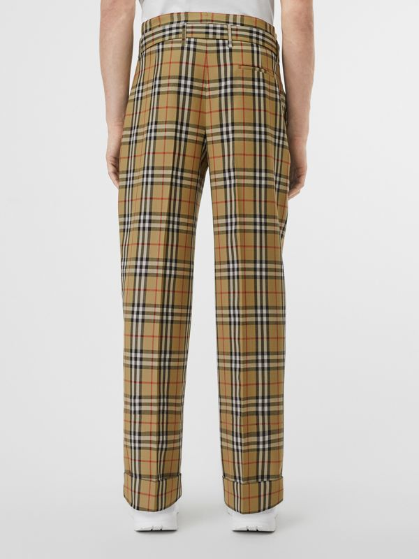 Vintage Check Wool High-waisted Trousers in Antique Yellow - Men | Burberry - cell image 2