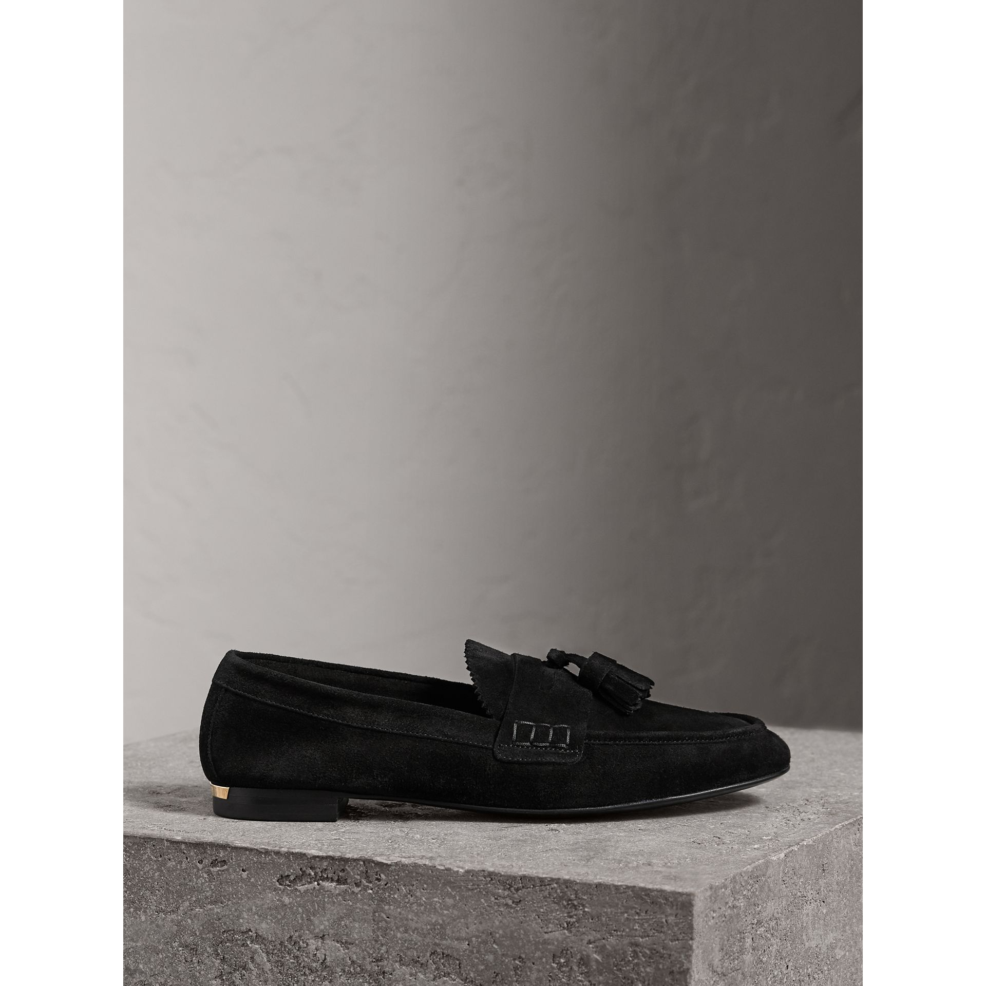 Tasselled Suede Loafers in Black - Women | Burberry United Kingdom - gallery image 4