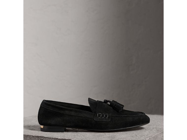 Tasselled Suede Loafers in Black - Women | Burberry United Kingdom - cell image 4