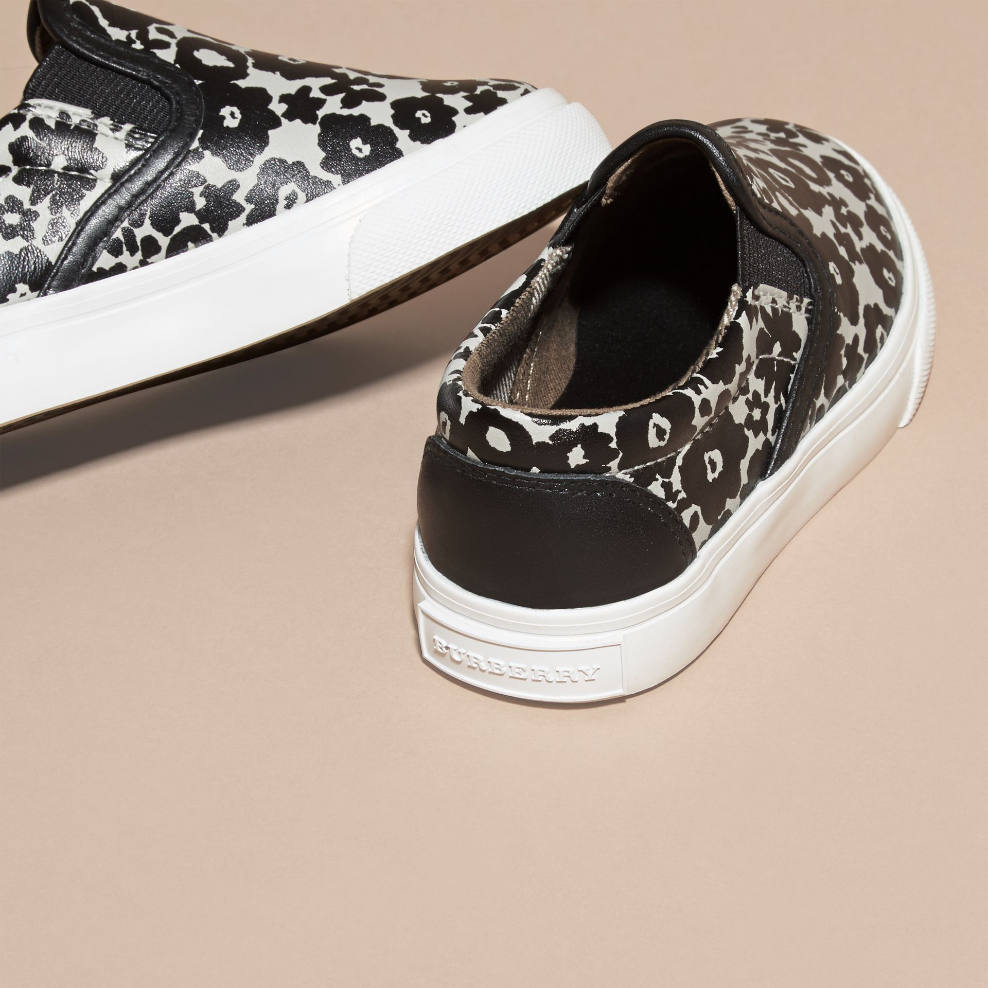 Black/white Floral Print Leather Slip-on Trainers - gallery image 4