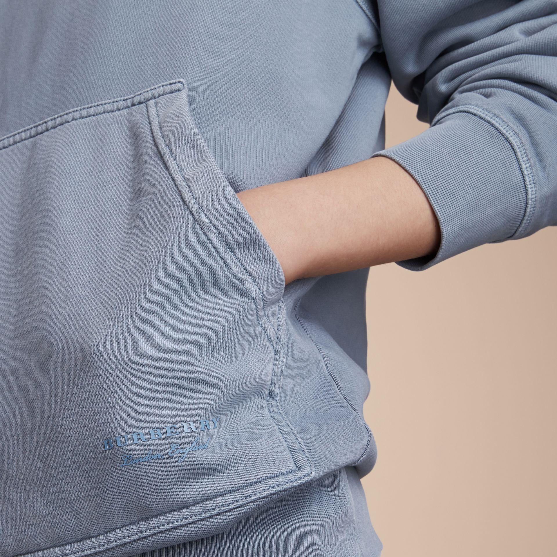 Unisex Pigment-dyed Cotton Oversize Sweatshirt in Dusty Blue - Women | Burberry - gallery image 4