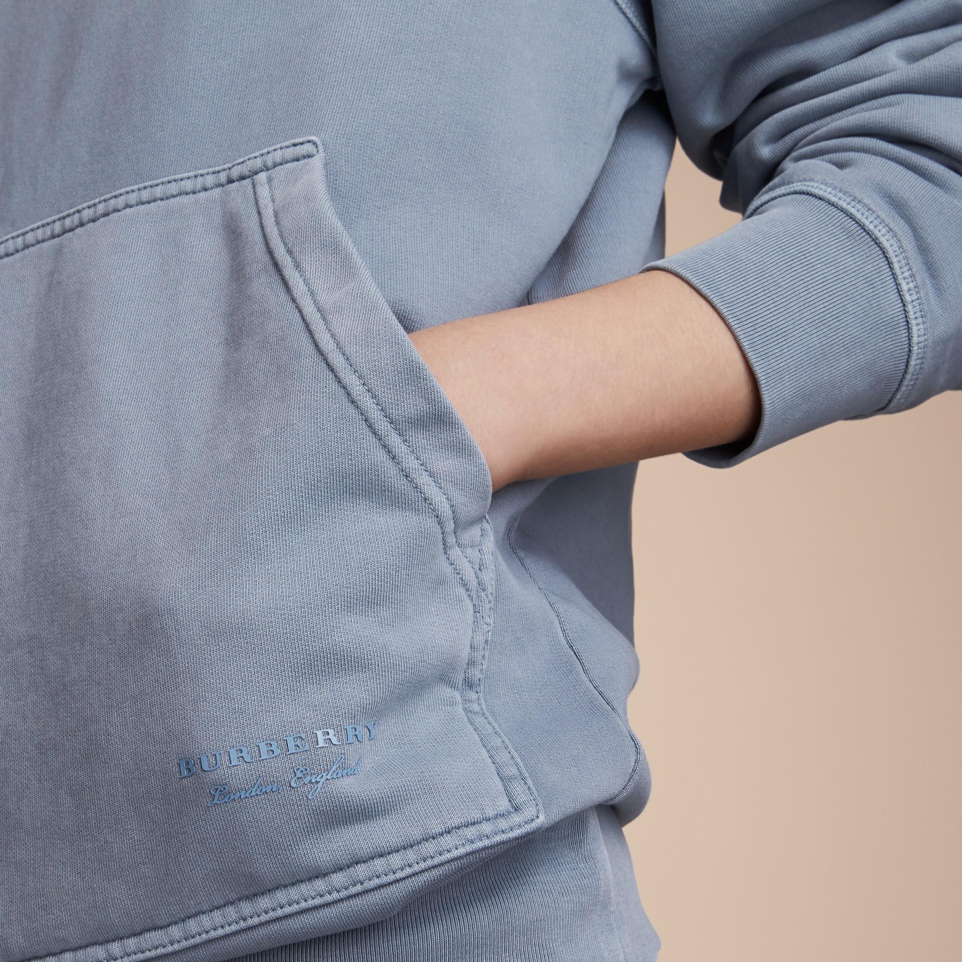 Unisex Pigment-dyed Cotton Oversize Sweatshirt in Dusty Blue - Women | Burberry Australia - gallery image 5