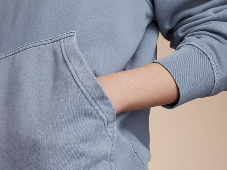 Unisex Pigment-dyed Cotton Oversize Sweatshirt in Dusty Blue - Women | Burberry Singapore - cell image 4