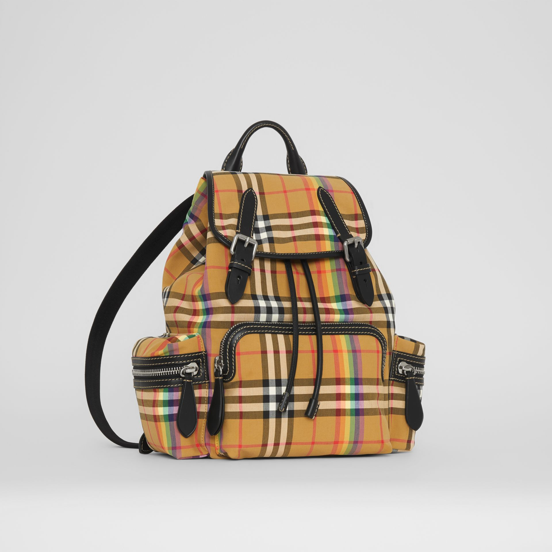 The Medium Rucksack in Rainbow Vintage Check in Antique Yellow - Women | Burberry United Kingdom - gallery image 6