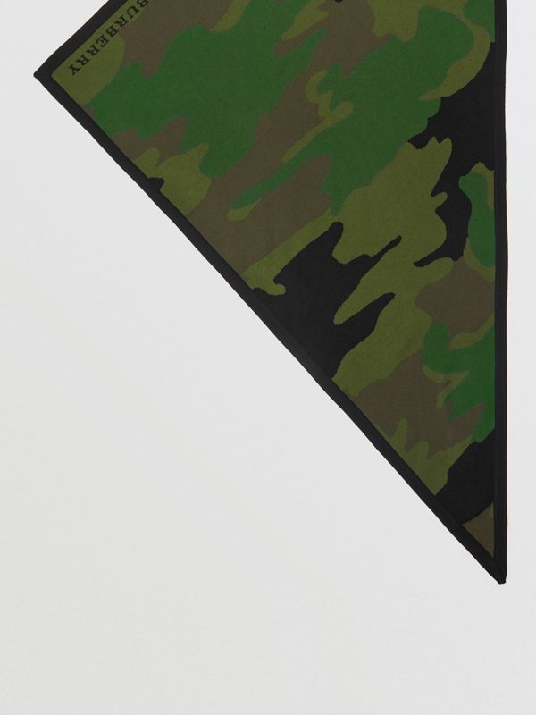 The Burberry Bandana in Camouflage Wool Blend in Khaki | Burberry - cell image 2