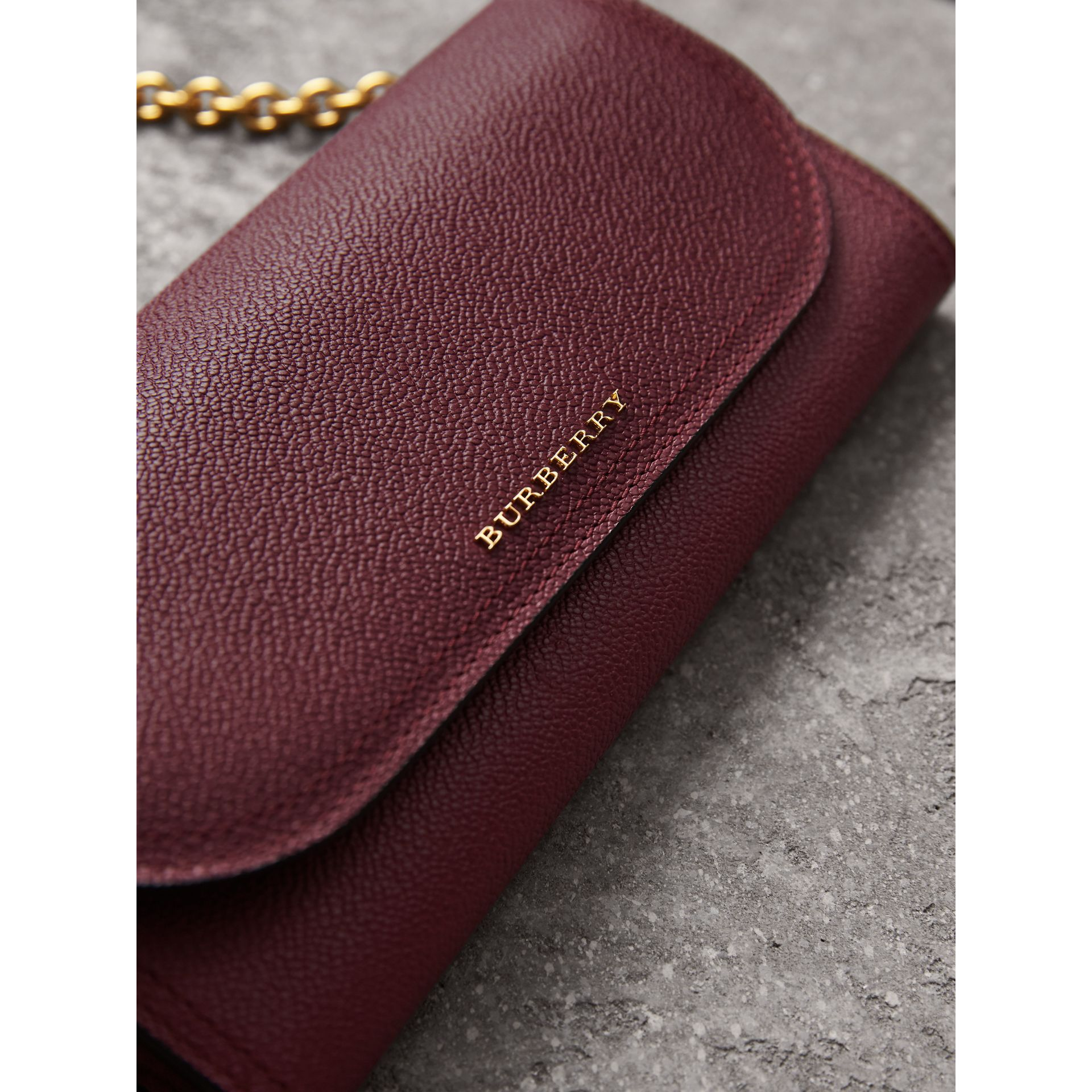 Leather Wallet with Chain in Dark Plum - Women | Burberry Canada - gallery image 1