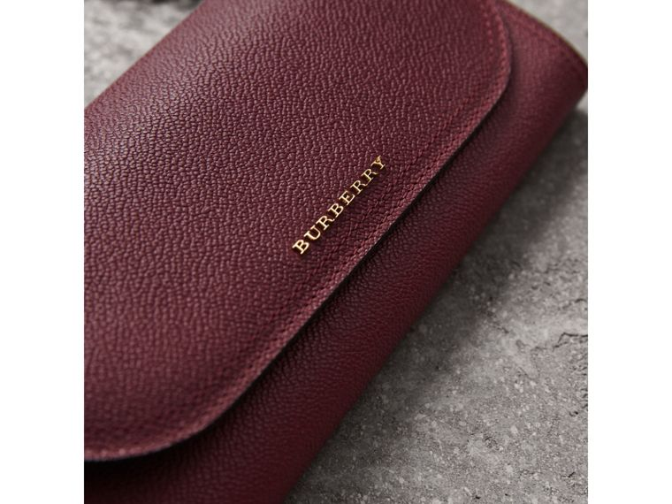 Leather Wallet with Chain in Dark Plum - Women | Burberry Canada - cell image 1