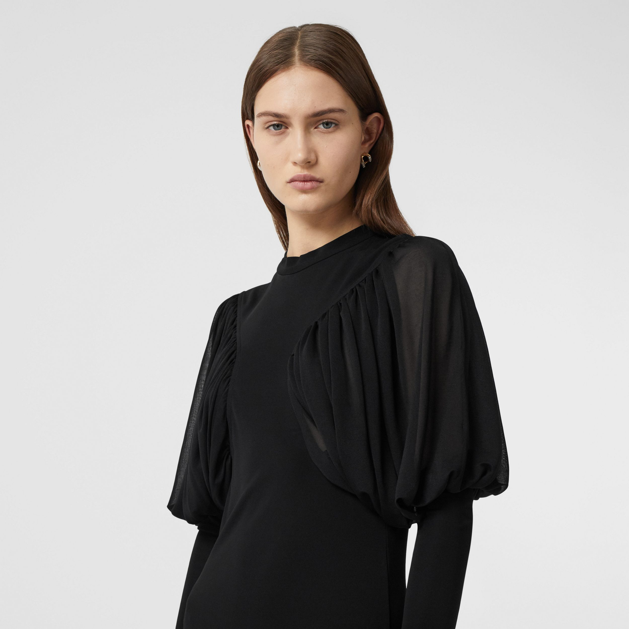Puff-sleeve Jersey Gown in Black - Women | Burberry - 2