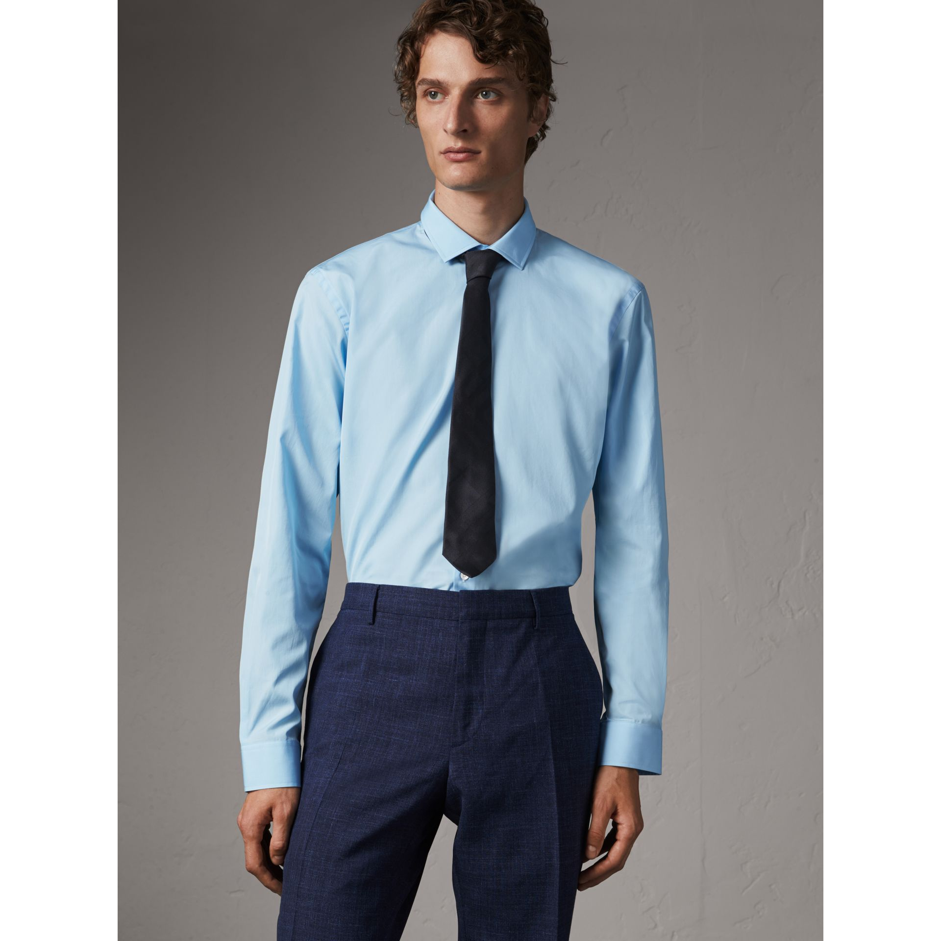 Modern Fit Cotton Poplin Shirt in City Blue - Men | Burberry Australia - gallery image 1