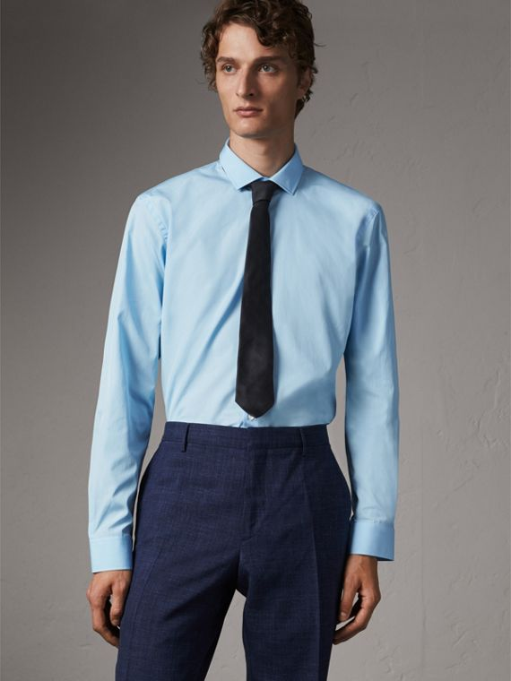 Modern Fit Cotton Poplin Shirt in City Blue