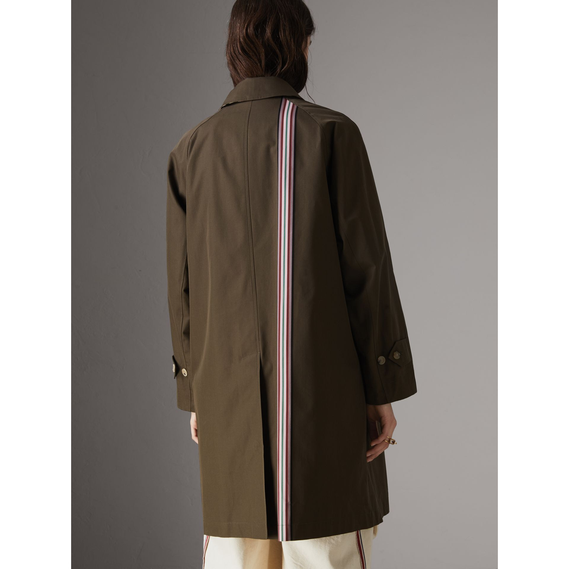 Striped Ribbon Cotton Gabardine Car Coat in Olive - Women | Burberry - gallery image 2