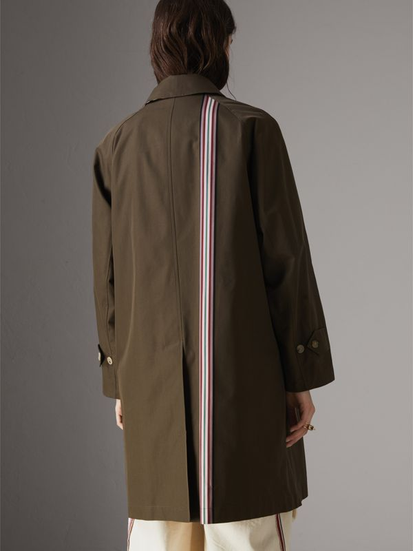 Striped Ribbon Cotton Gabardine Car Coat in Olive - Women | Burberry - cell image 2