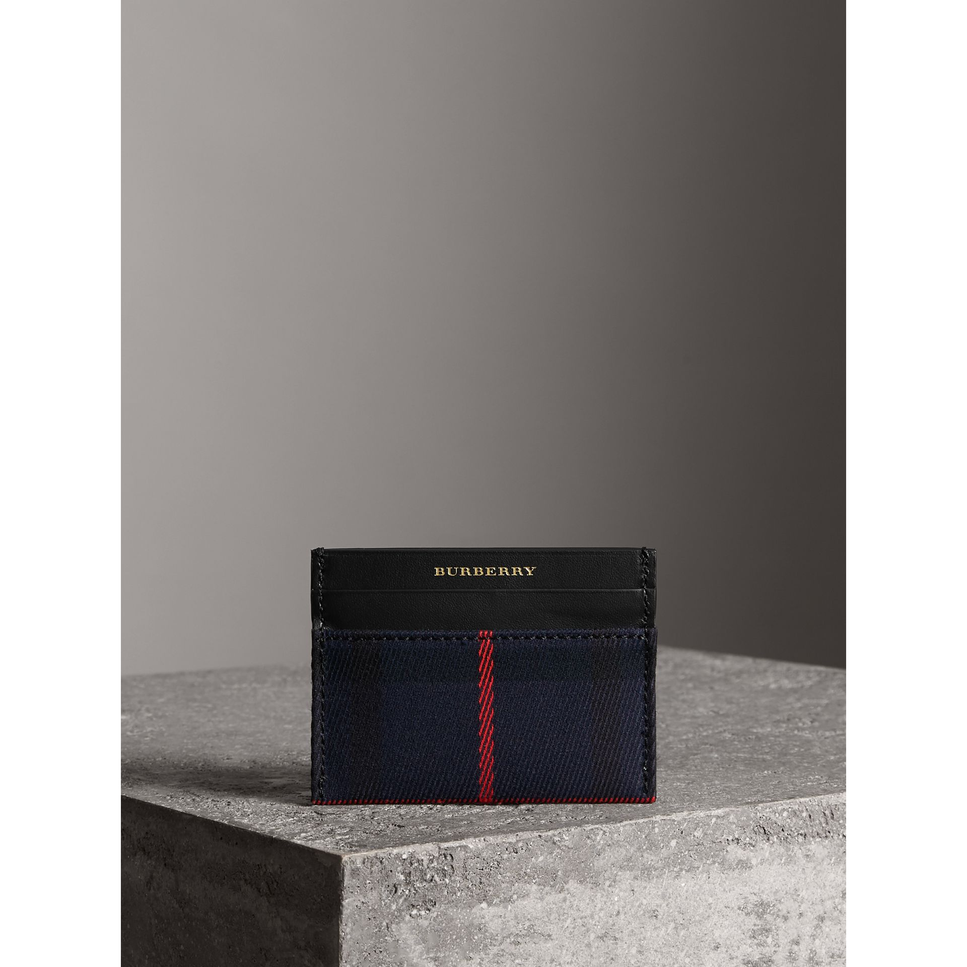 Tartan Check and Leather Card Case in Deep Navy/black | Burberry - gallery image 4