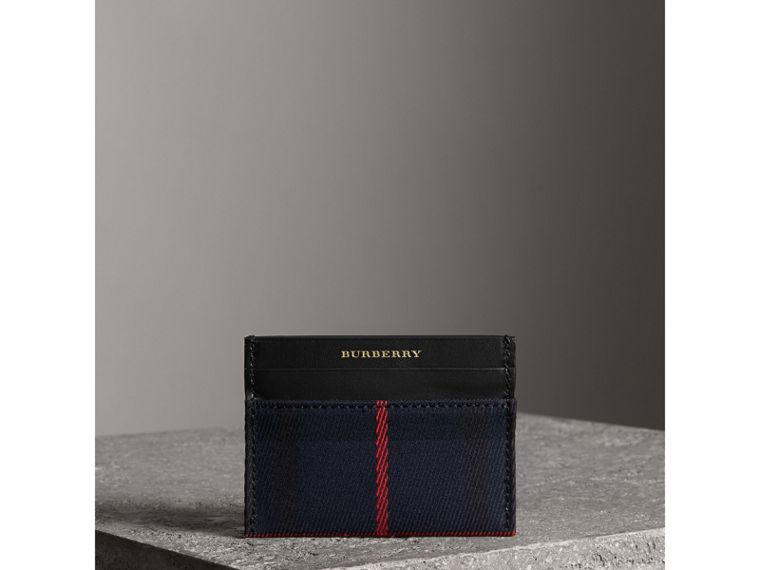 Tartan Check and Leather Card Case in Deep Navy/black | Burberry - cell image 4