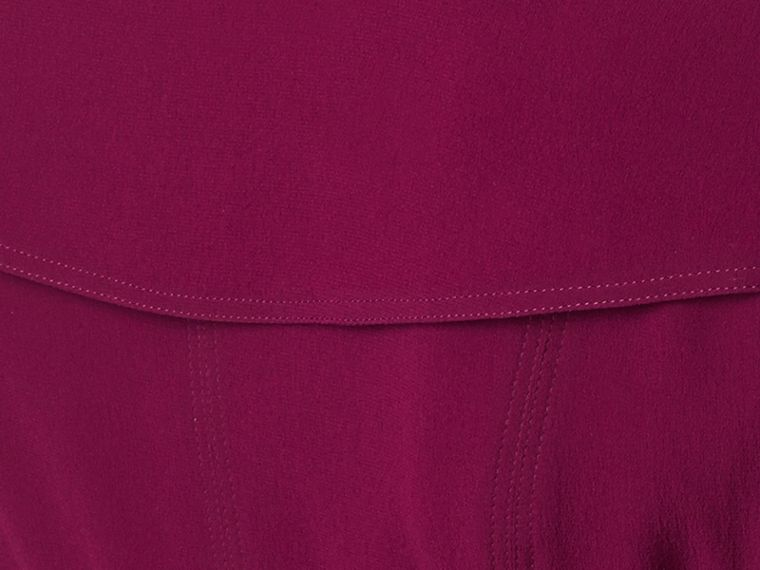 Silk Wrap Trench Dress in Bright Burgundy - cell image 1