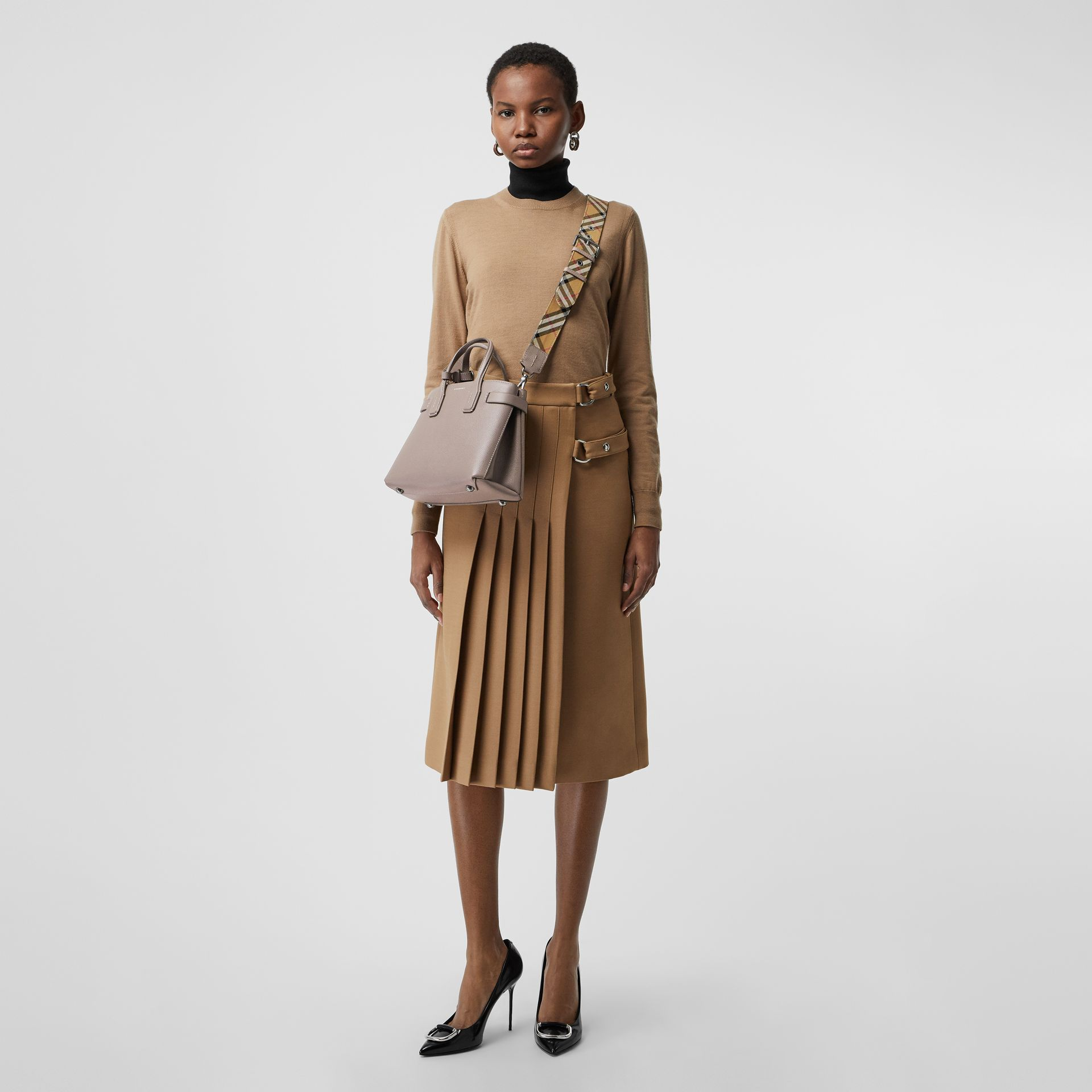 The Small Banner in Leather and Vintage Check in Taupe Brown - Women | Burberry United States - gallery image 2