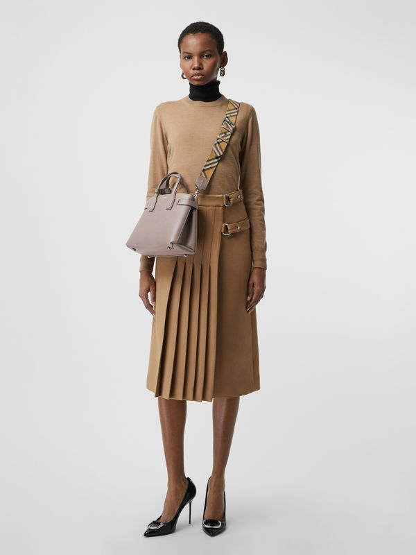 The Small Banner in Leather and Vintage Check in Taupe Brown - Women | Burberry United States - cell image 2