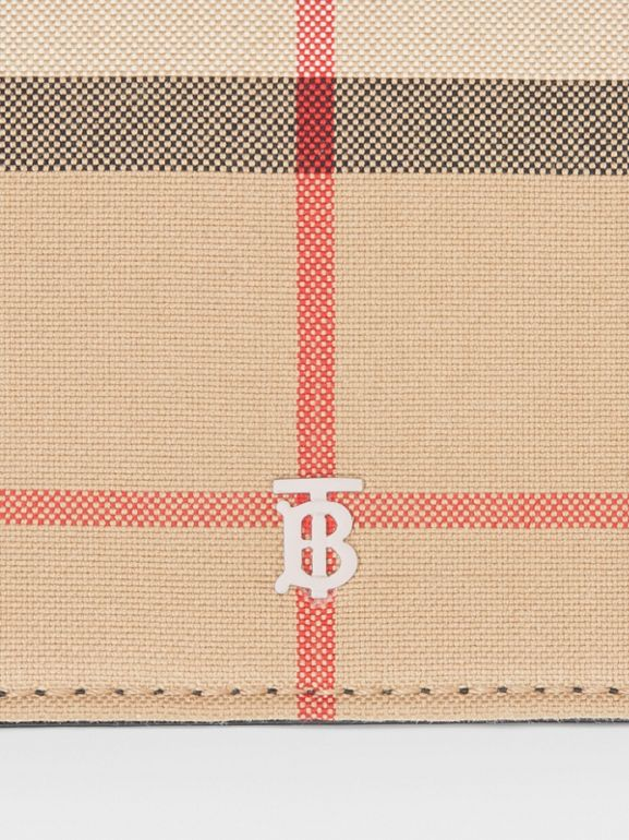 Vintage Check Card Case with Detachable Strap in Black - Women | Burberry - cell image 1
