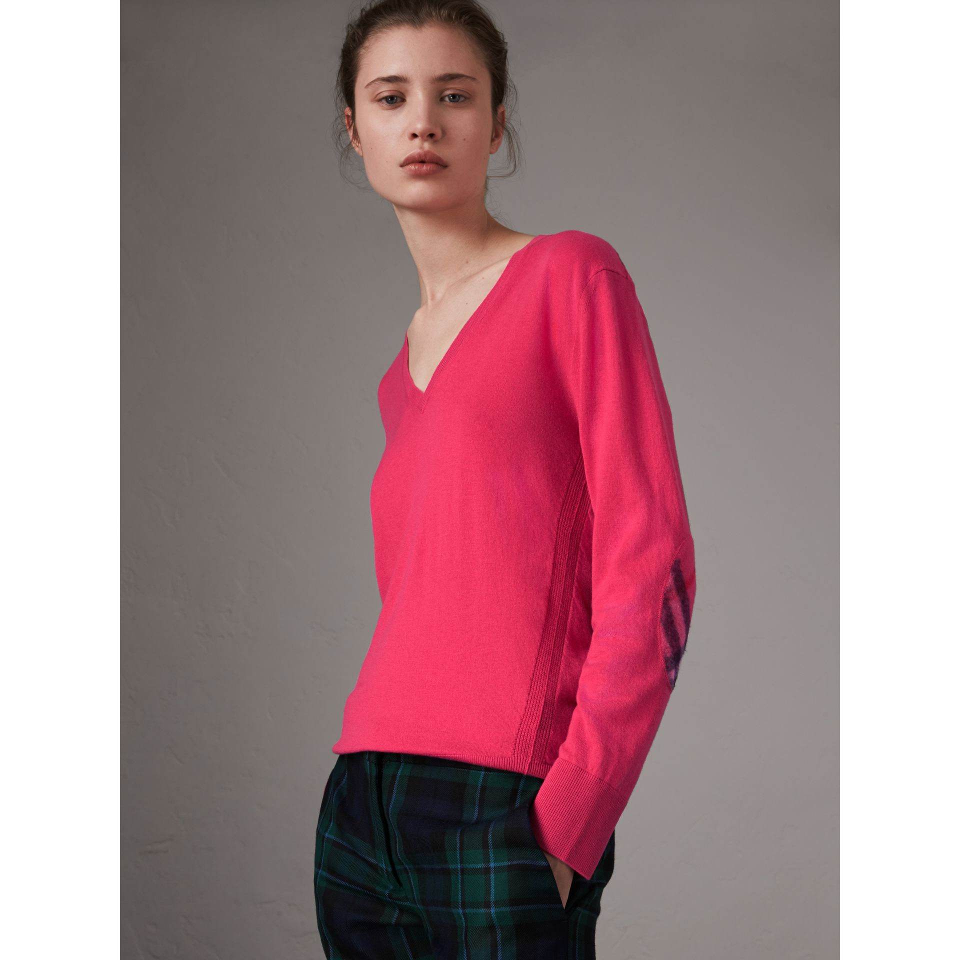 Check Detail Cashmere V-neck Sweater in Bright Pink - Women | Burberry - gallery image 1