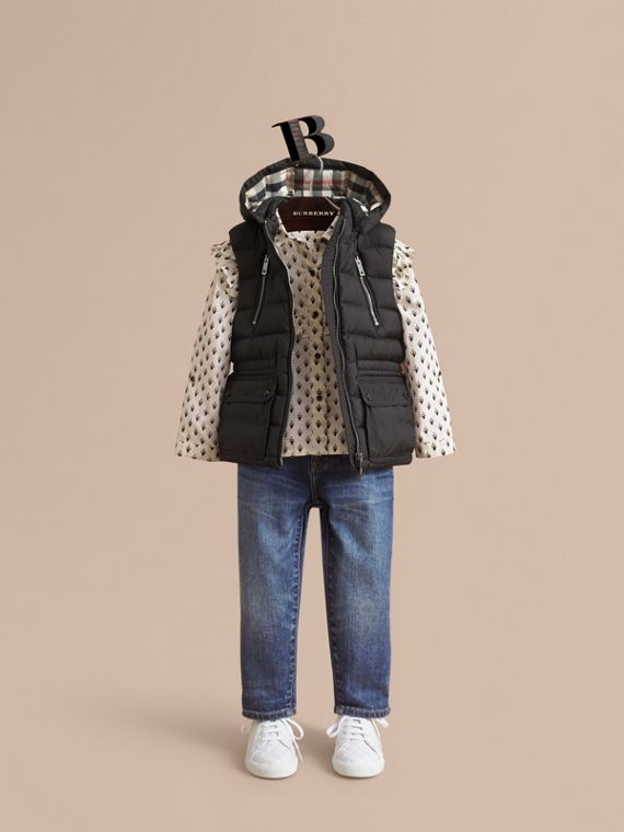 Detachable Hood Down-filled Gilet in Black - Girl | Burberry