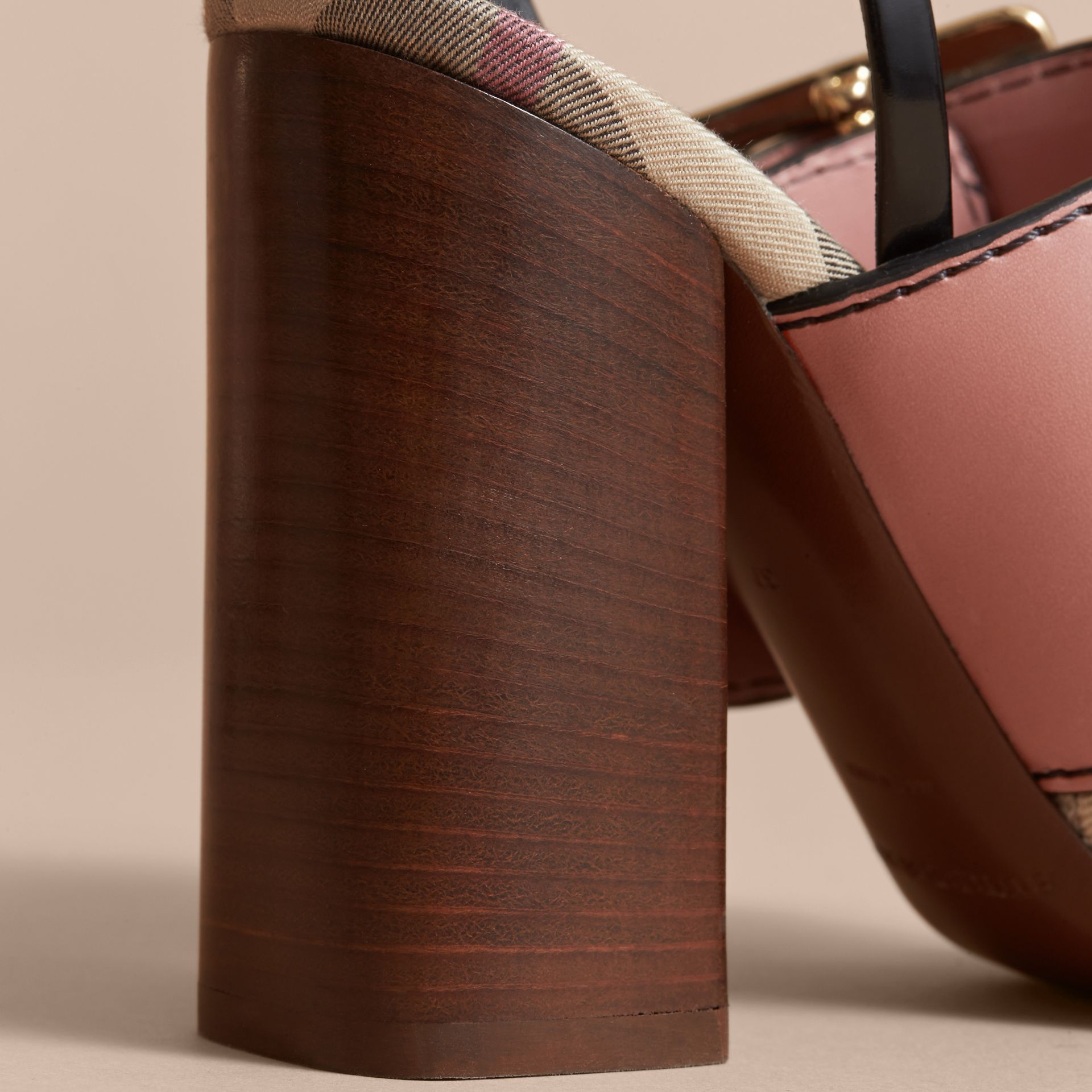 Buckle Detail Colour Block Leather Sandals in Nude Pink - Women | Burberry - gallery image 5