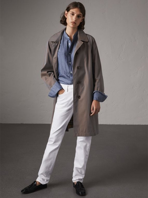 The Camden – Long Car Coat in Lilac Grey - Women | Burberry