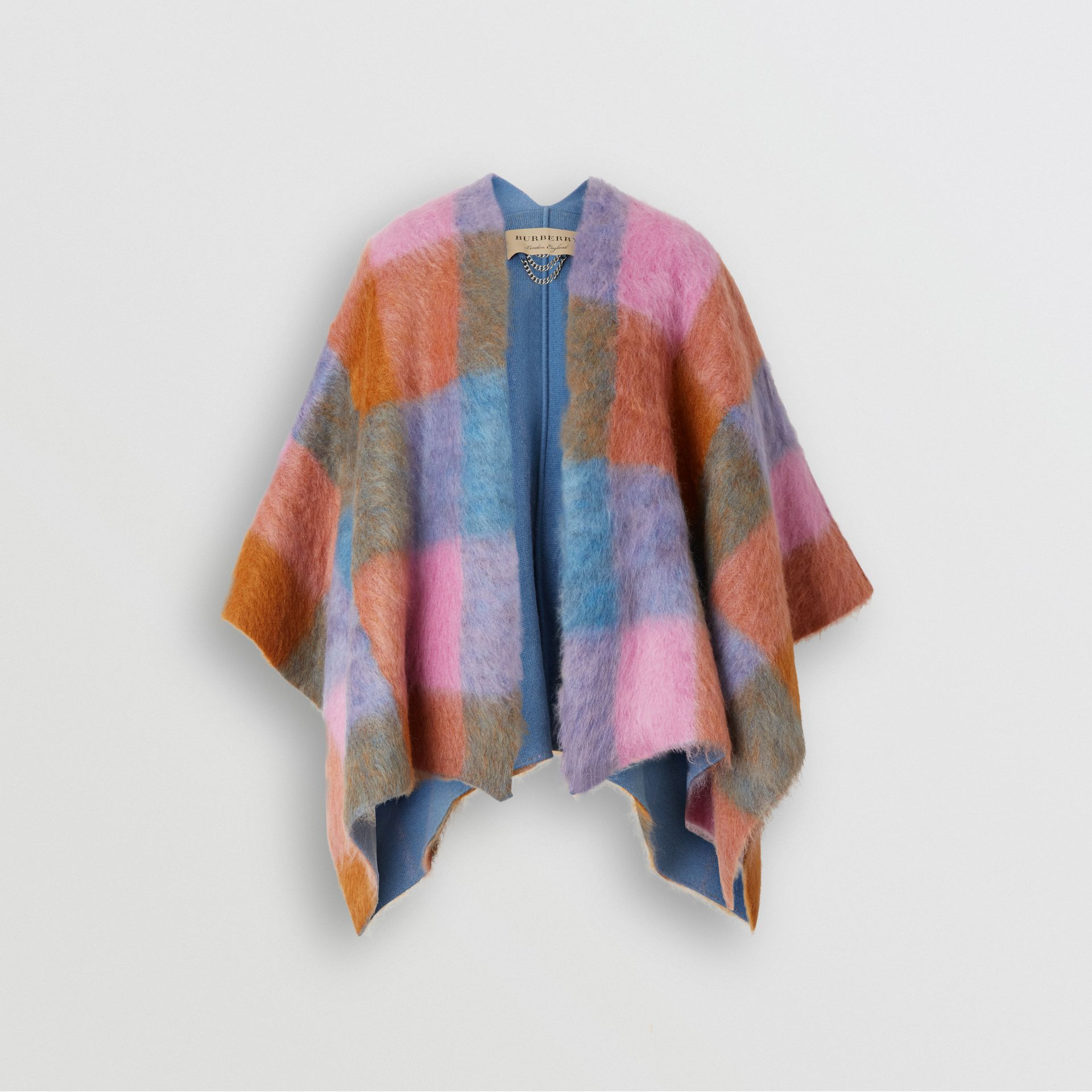 Patchwork Mohair Blend Cape in Apricot Pink - Women | Burberry United States - gallery image 0