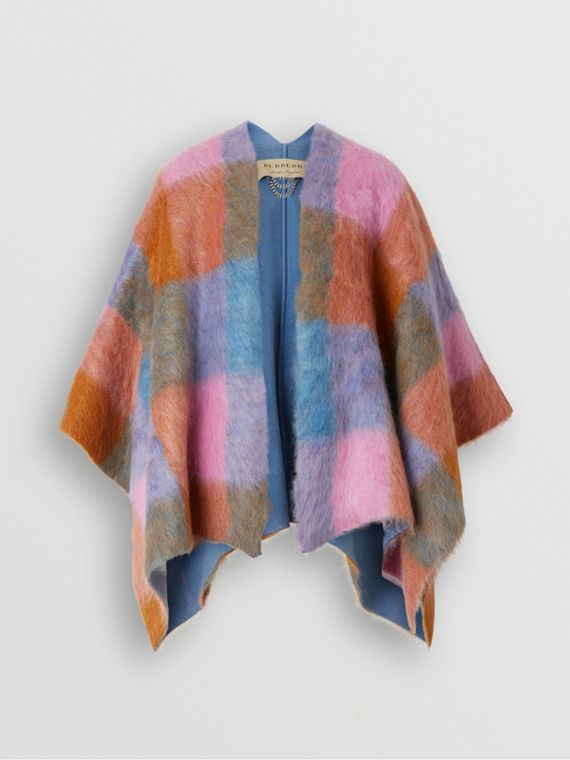 Patchwork Mohair Blend Cape in Apricot Pink