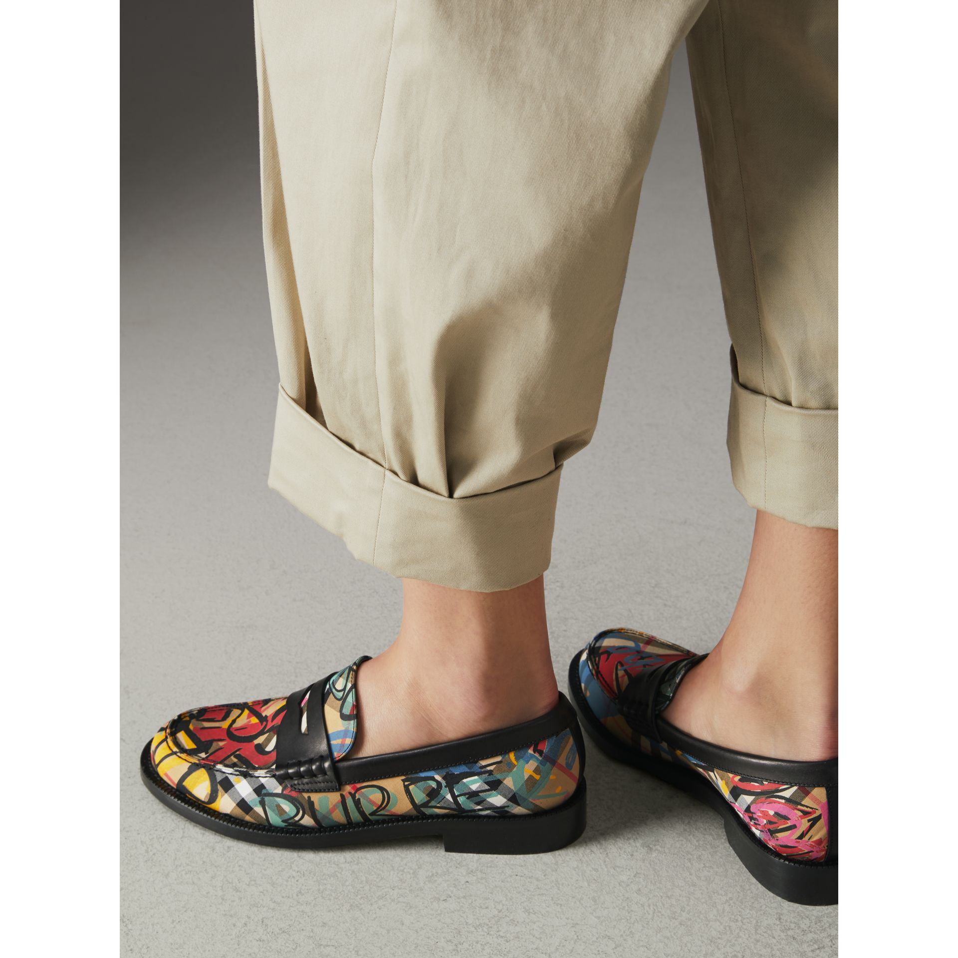 Graffiti Vintage Check Cotton Penny Loafers in Antique Yellow - Women | Burberry Singapore - gallery image 2