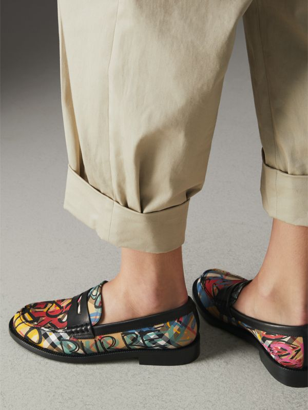 Graffiti Vintage Check Cotton Penny Loafers in Antique Yellow - Women | Burberry - cell image 2