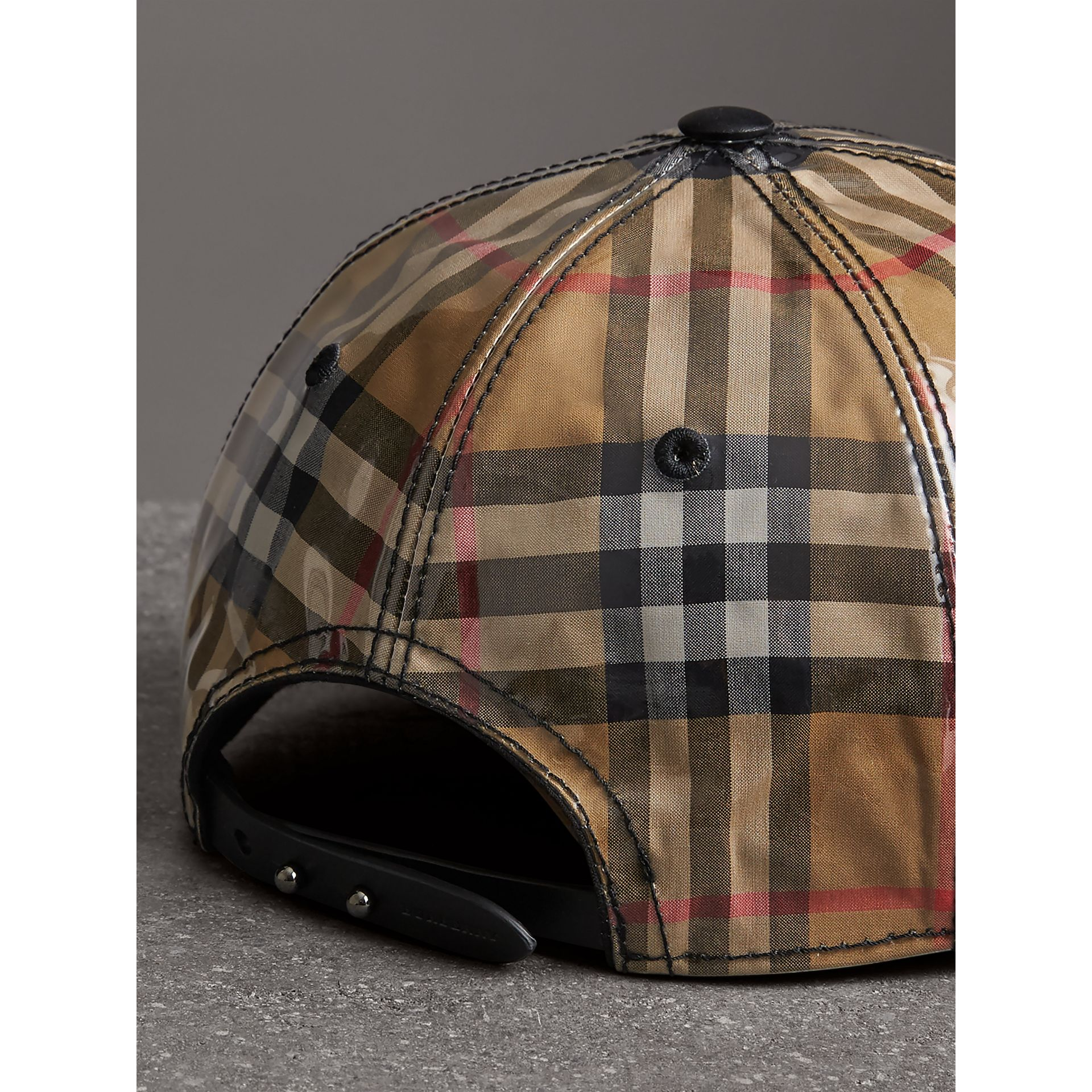 Laminated Vintage Check Baseball Cap in Antique Yellow | Burberry Australia - gallery image 3