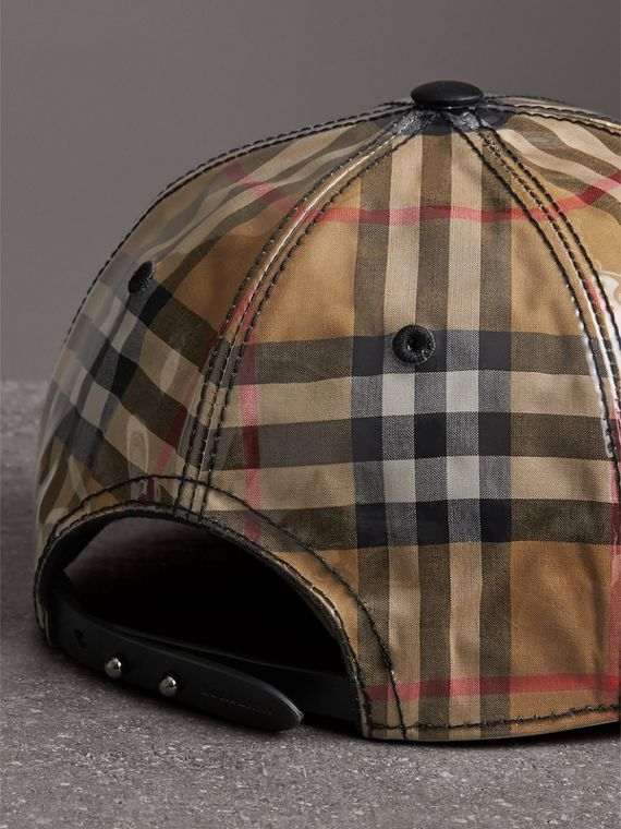 Laminated Vintage Check Baseball Cap in Antique Yellow | Burberry Australia - cell image 3