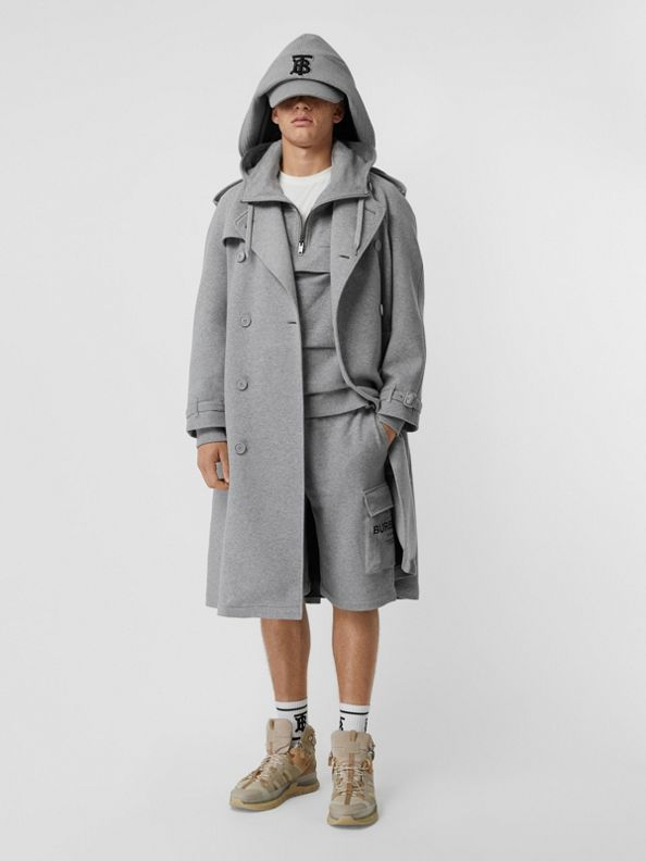 Cotton Jersey Trench Coat in Pale Grey Melange